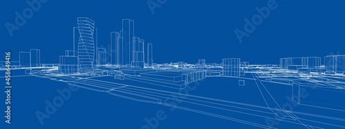 Photo Vector 3d urban landscape. Buildings and roads