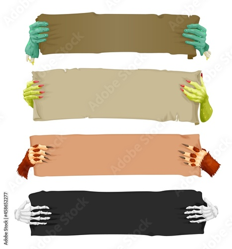 Canvas Print Cartoon scary hands with banners and scrolls, vampire, werewolf, skeleton and Halloween zombie, vector