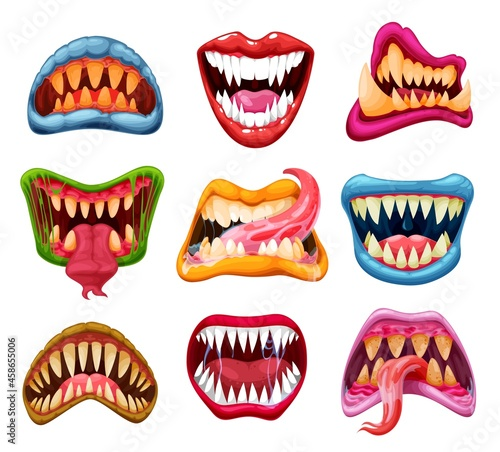 Photo Monster jaws and mouths with cartoon teeth and tongues