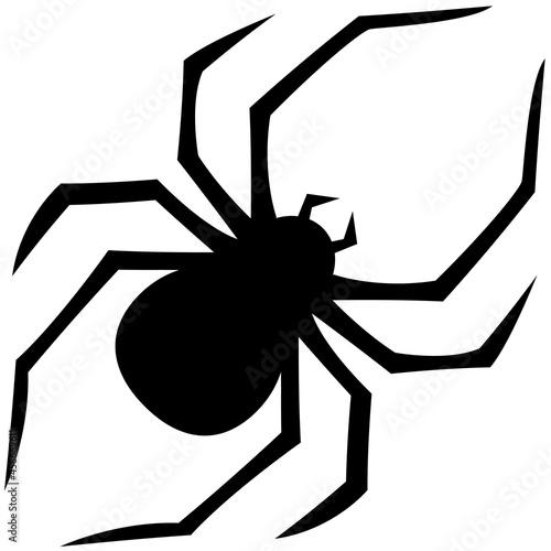 Obraz na plátne Black isolated spider. Vector simple arachnid halloween insect.