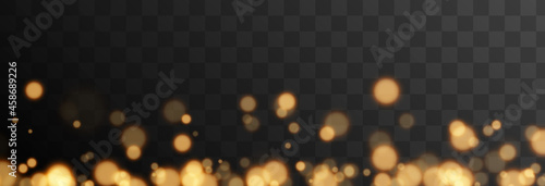 Gold bokeh on isolated transparent background. Light effect png, blurred bokeh png, christmas background. Magic glow, radiance.