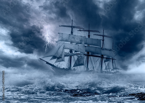 Wallpaper Mural Tall ship sailing in a tempest with stormy sky and lightning concept