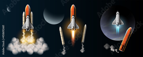 Canvas Print Rockets are launched to take spacecraft to outer space