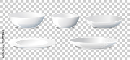 Fotografia Set of plate and bowl side view