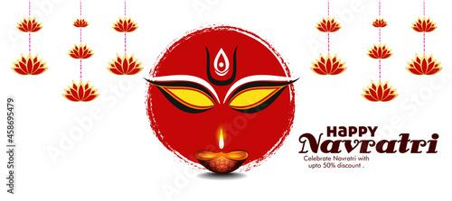 Photo Illustration of Goddess Maa Durga in Happy Dussehra Navratri background Templat