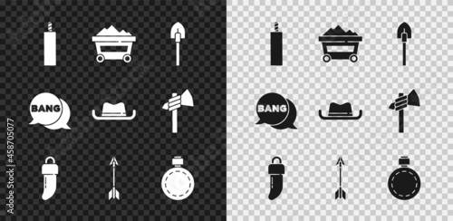 Obraz na plátně Set Dynamite bomb, Coal mine trolley, Shovel, Tooth, Crossed arrows, Canteen water bottle, Bang boom, gun Comic and Western cowboy hat icon