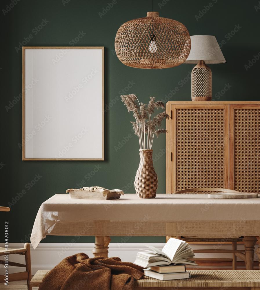 Leinwandbild Motiv - artjafara : Mock up frame in cozy dining room interior background, 3d render