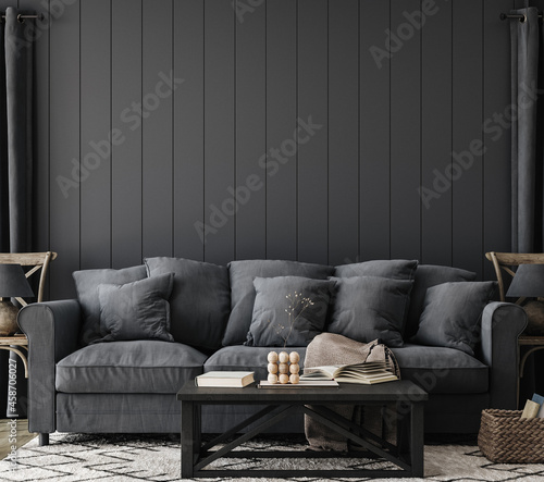 Cozy black farmhouse living room interior, wall mockup, 3d render