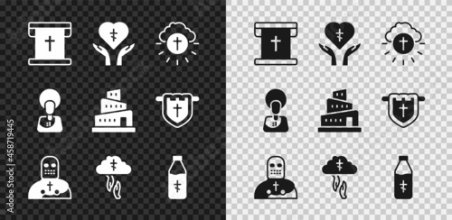 Set Flag with christian cross, Religious in heart, circle, Knight crusader, God's helping hand, Holy water bottle, Jesus Christ and Babel tower bible story icon Fototapeta