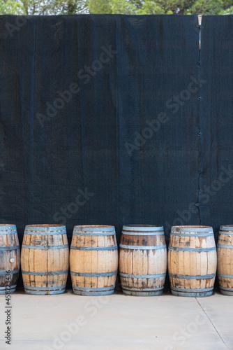 Tela Wine barrels in a Spanish winery on the Catalan coast