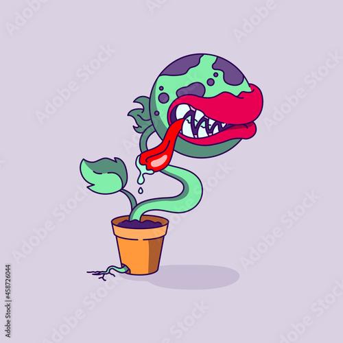 Billede på lærred Halloween Carnivorous Plant