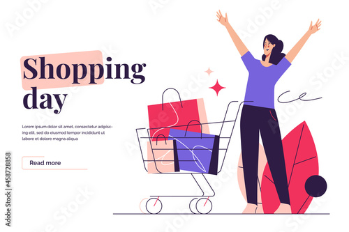 Fototapeta Vector illustration depicting an excited woman with shopping cart on the subject of e-commerce, sale, promotions, online shopping