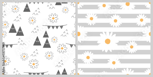 Seamless patterns with daisy flower, mountain, flags for baby on white background and hand drawn daisy flower on white grey stripe background vector illustration Tapéta, Fotótapéta