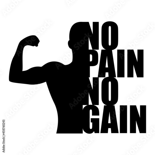 Photo Vector of Catchword No Pain No Gain , Creative Typographic Poster