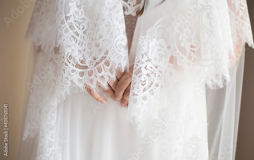 Fotografering White bride dress details