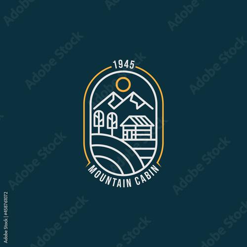 Fotografie, Obraz summer mountain cabin minimalist line art badge logo icon template vector illustration design