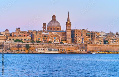Vászonkép Valletta cityscape from Northern Harbour, Malta