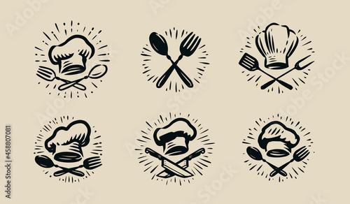 Canvas Vintage label Logo badge for cooking or restaurant