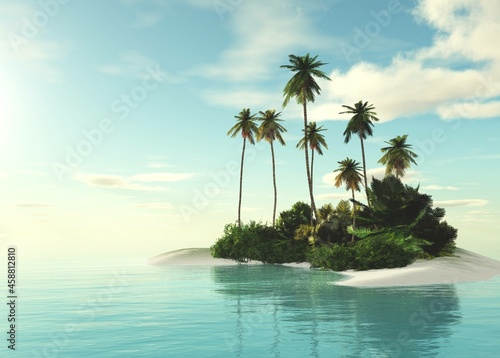 Beautiful tropical island with palm trees in the rays of the setting sun, ocean landscape with a tropical island with palm trees, palm trees on an island in the sea, 3D rendering