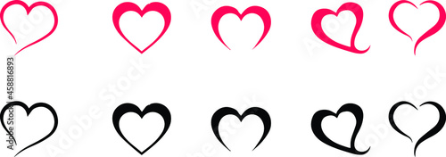 Fotografiet set of line heart icons