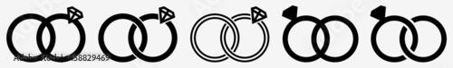 Fotografie, Obraz Wedding Rings Icon Diamond Wedding Ring Set | Wedding Ring Icon Jewellery Vector
