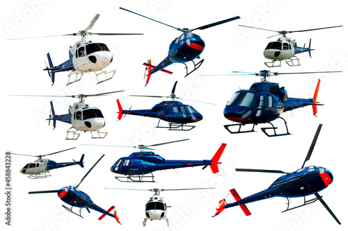 Canvas Print Set of helicopters in motion isolated on white background