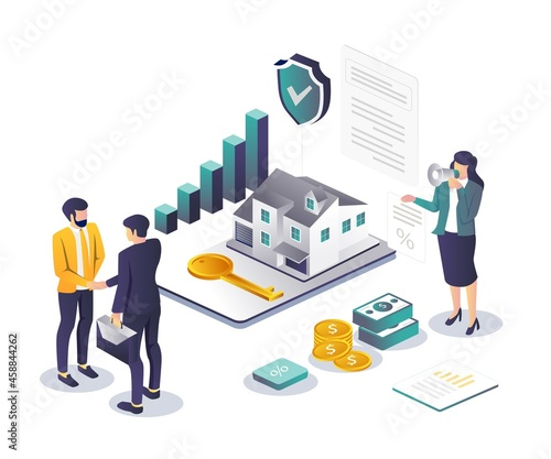 Obraz na płótnie Security infests the house and agrees in isometric illustration