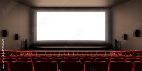 Billede på lærred 赤い椅子の並んだ映画館と眩しく光るスクリーン / 3Dレンダリンググラフィックス / オープニング感・登場感・ティザー用背景素材