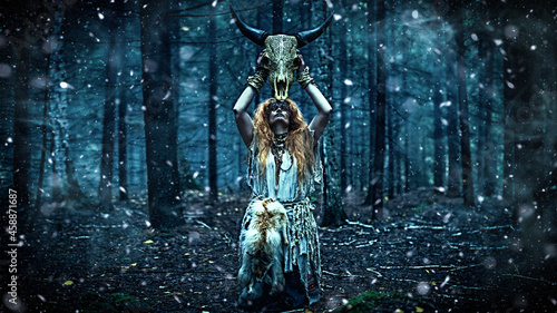 Canvastavla witch ritual in a forest