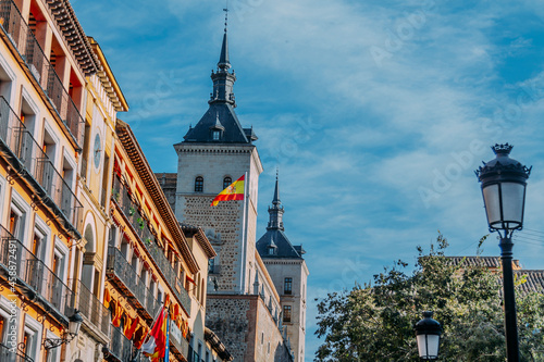 Canvas Toledo city hall with flag, Spain, Europe