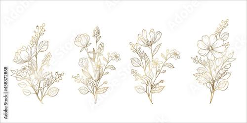 Fototapeta 花のベクターイラスト 花の装飾的なデザイン素材 金色