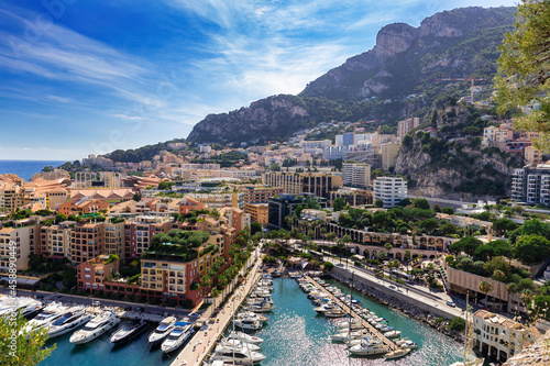 фотография Scenic view on luxury yachts and apartments of city centre and harbour of Monte Carlo, Cote d'Azur, Monaco, French Riviera