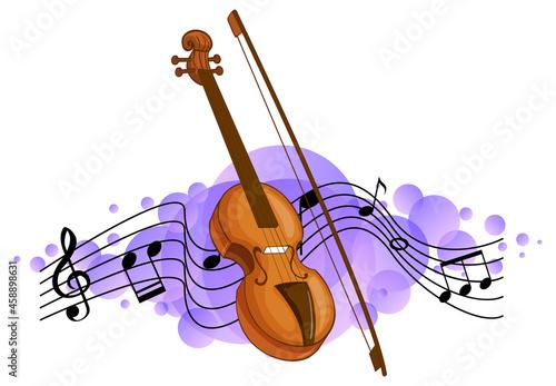 Obraz na plátně Violin classical music instrument with melody symbols on purple splotch