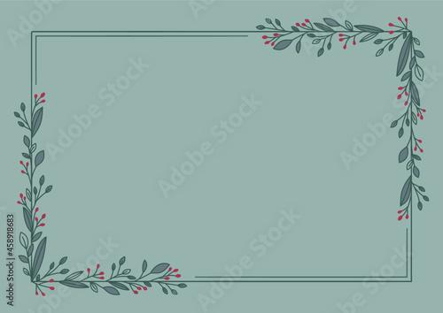 Prosta ramka z bukietem gałązek z listkami na zielonym tle. Tło do projektowania wizytówki, kartek urodzinowych, życzeń, gratulacji, wzór zaproszenia ślubnego, tło do social media lub na blog.