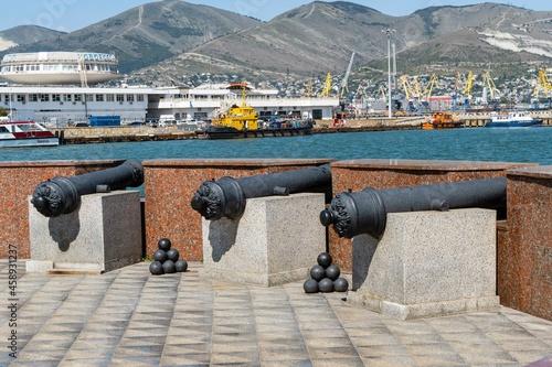 Canvas Installation of coastal battery at observation deck