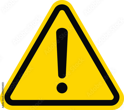 Fotografie, Obraz Hazard warning attention sign with exclamation mark symbol