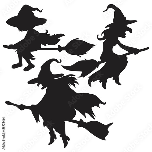 Fotografia, Obraz Silhouette witch flying on broomstick. Halloween vector