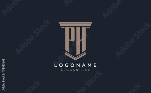 Fotografie, Obraz PH initial logo with pillar style, luxury law firm logo design ideas