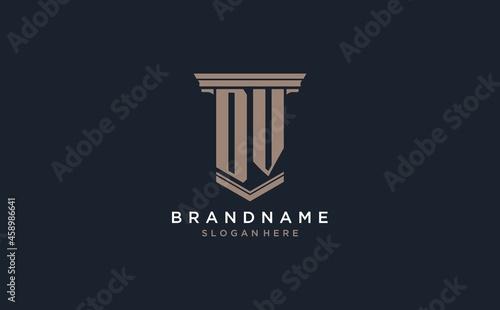 Fotografie, Obraz DV initial logo with pillar style, luxury law firm logo design ideas
