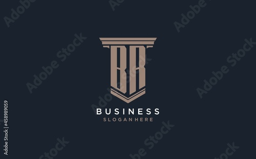 Obraz na plátně BR initial logo with pillar style, luxury law firm logo design ideas