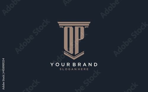 Fotografie, Obraz OP initial logo with pillar style, luxury law firm logo design ideas