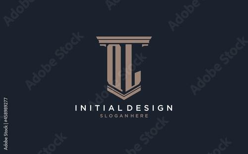 Fényképezés QL initial logo with pillar style, luxury law firm logo design ideas