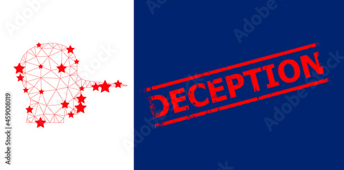 Mesh liar person polygonal icon vector illustration, and red DECEPTION dirty badge Fototapet