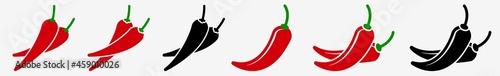 Fotografie, Obraz Spicy Chili Pepper Icon Hot Chili Pepper Set | Chili Peppers Icon Spicy Mexican