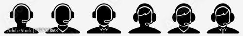 Fotografiet Call Center Icon Call Centre Agent Set | Call Center Support Icon Service Operat