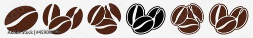 Fotografija Coffee Beans Icon Logo Coffee Beans Set | Coffee Bean Icon Shop Vector Illustrat