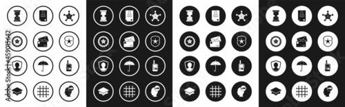 Billede på lærred Set Hexagram sheriff, Envelope, Police badge, Old hourglass, Identification, Walkie talkie and User protection icon