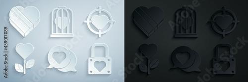 Fotografie, Tablou Set Heart in speech bubble, the center of darts target aim, shape flower, Lock and heart, bird cage and Candy shaped box icon