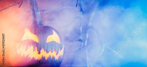 Obraz na plátně Spooky Halloween jack o lantern pumpkin with carved scary face glowing in fog on Halloween night