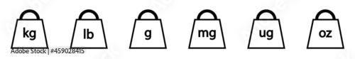 Valokuva Conjunto de icono de peso kg, lb, g, mg, ug, oz